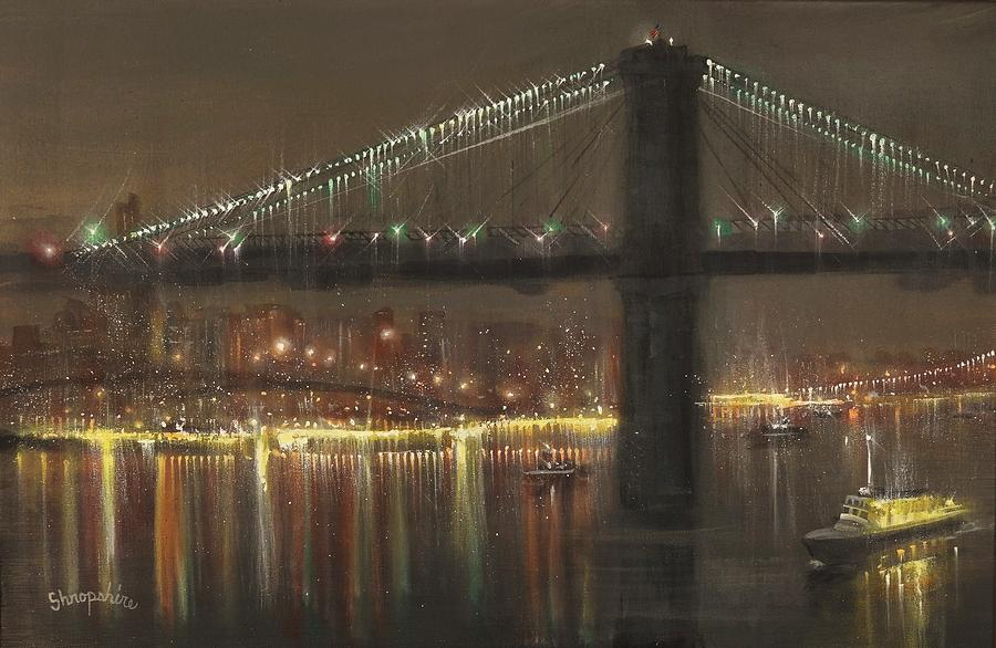 Brooklyn Painting - Brooklyn Bridge Cruciform by Tom Shropshire