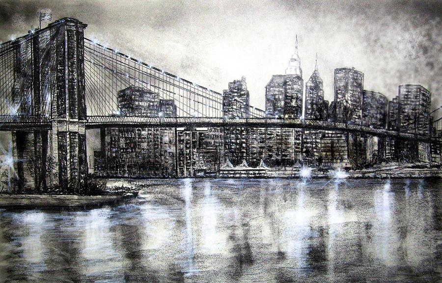 Brooklyn bridge drawing drawing by leland castro brooklyn bridge drawing brooklyn bridge drawing by leland castro malvernweather Images