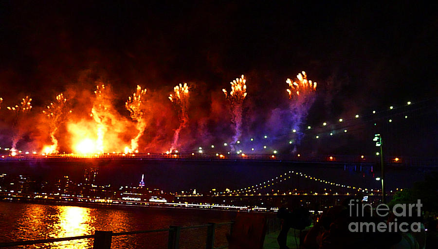 New York Photograph - Brooklyn Bridge Fireworks by Kendall Eutemey