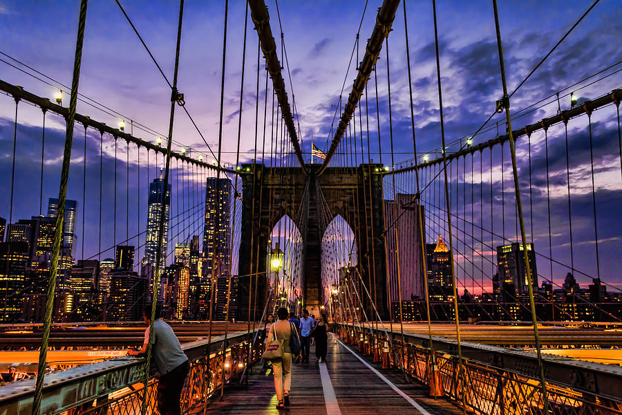 American Photograph - Brooklyn Bridge Evening by Boss Photographic