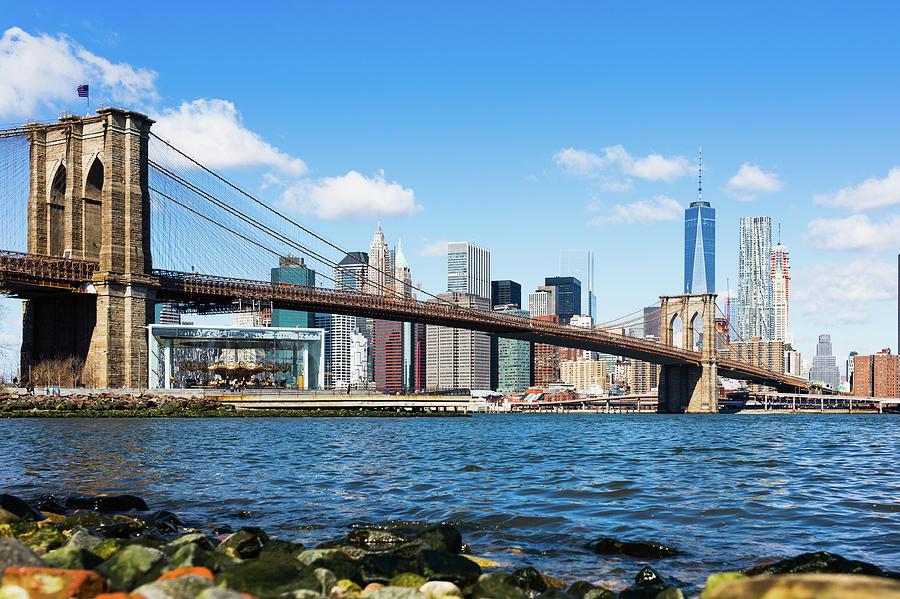 Brooklyn Bridge Lower Manhattan Photograph by Deimagine