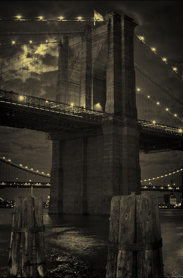 Brooklyn Bridge Photograph - Brooklyn Bridge Midnight by Joseph Hedaya