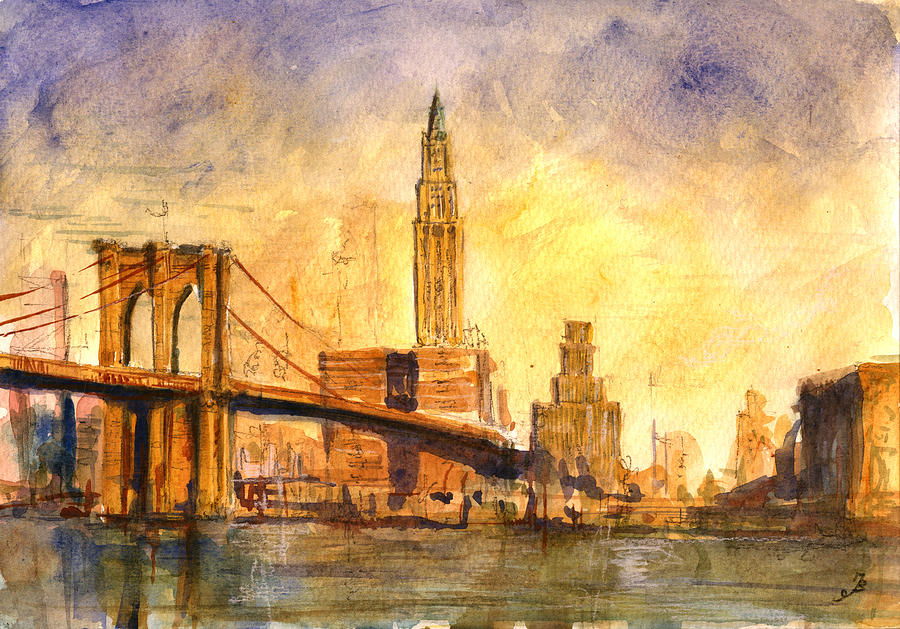 Brooklyn Painting - Brooklyn bridge New York by Juan  Bosco