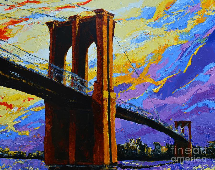Stone Bridge Painting - Brooklyn Bridge New York Landmark by Patricia Awapara
