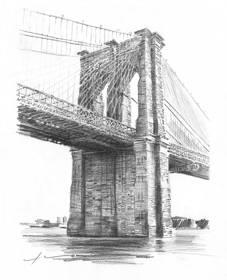 Brooklyn Bridge Pencil Drawing Drawing by Mike Theuer