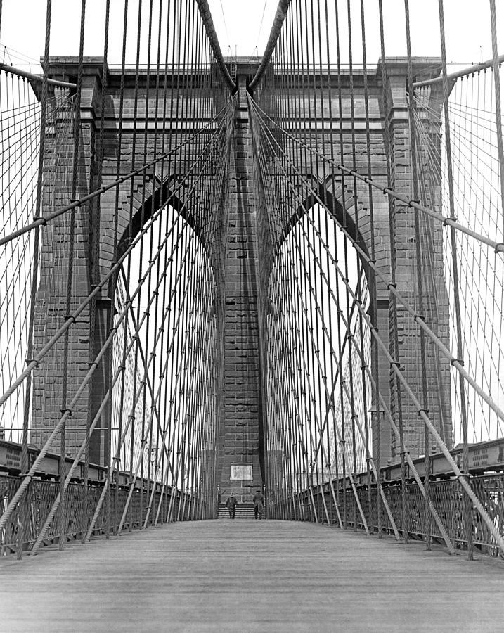 Arch Photograph - Brooklyn Bridge Promenade by Underwood Archives