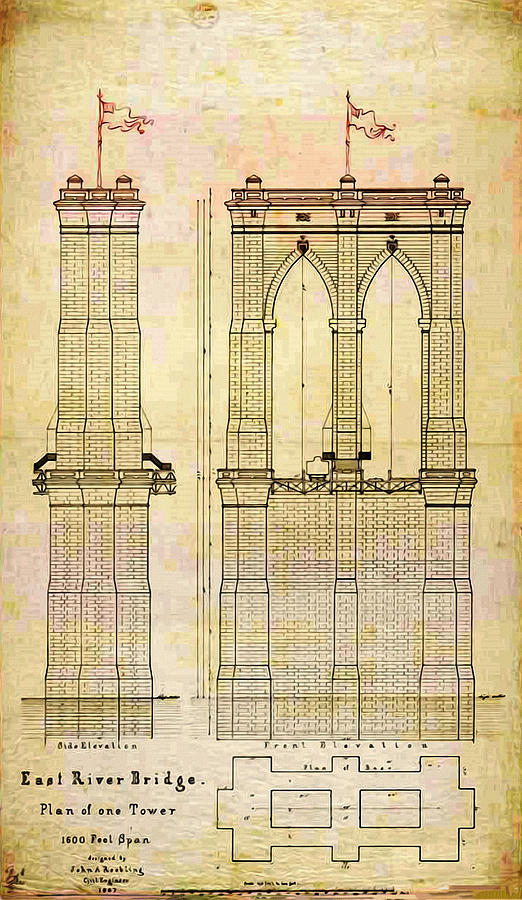 Brooklyn bridge tower one plans photograph by bill cannon brooklyn photograph brooklyn bridge tower one plans by bill cannon malvernweather Choice Image