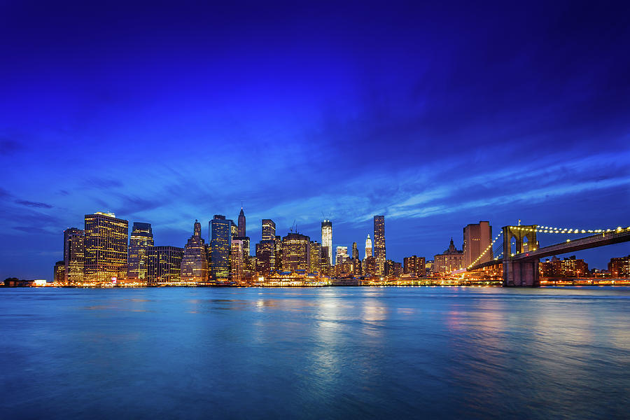 Brooklyn Bridge With Downtown Photograph by Mbbirdy