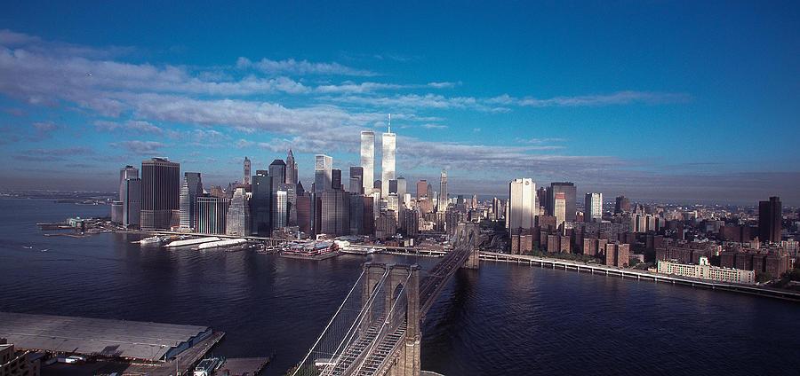 Landscape Photograph - Brooklyn Bridge With Manhattan Skyline by Kim Lessel