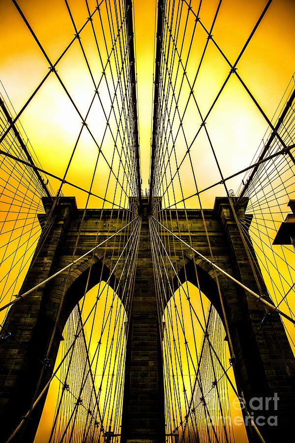 Brooklyn Bridge Digital Art - Brooklyn Bridge Yellow by Az Jackson