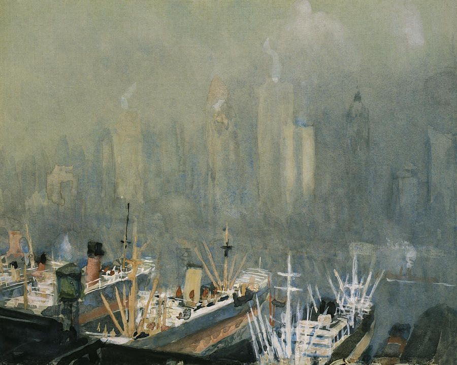Manhattan Painting - Brooklyn Harbor Circa 1921  by Aged Pixel