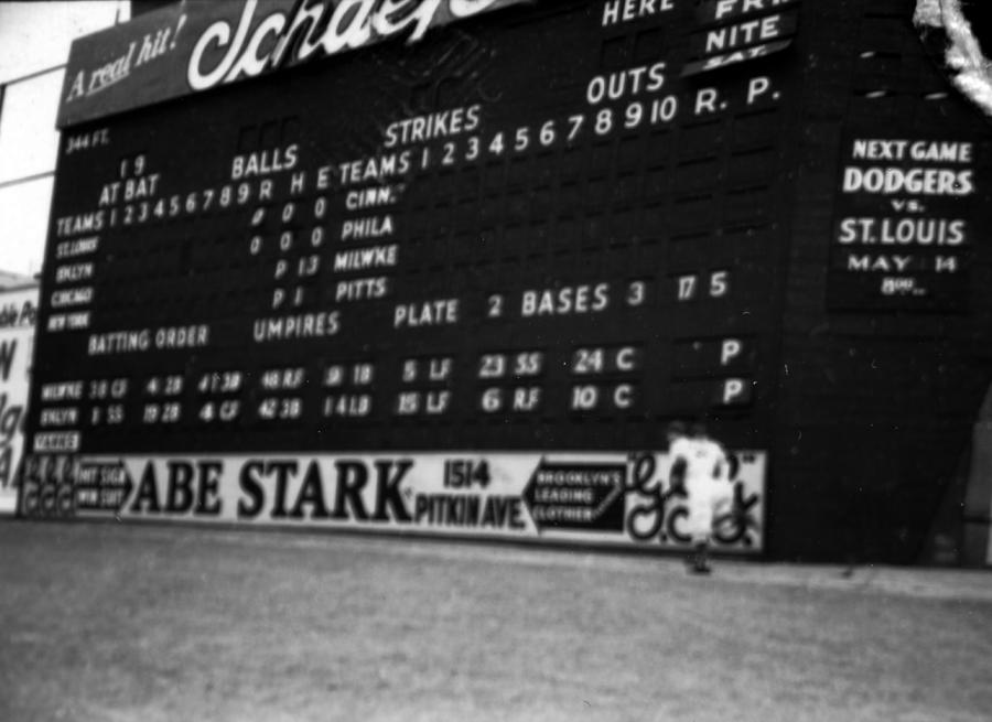 Marvin Newman Photograph - Brooklyn Scoreboard by Retro Images Archive