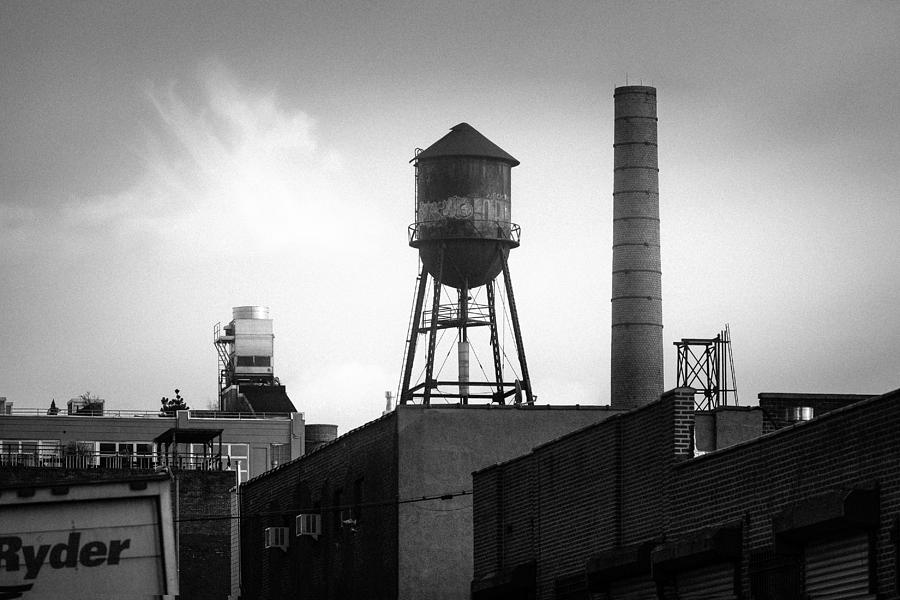 Brooklyn Water Tower and SmokeStack - Black and White Industrial Chic by Gary Heller