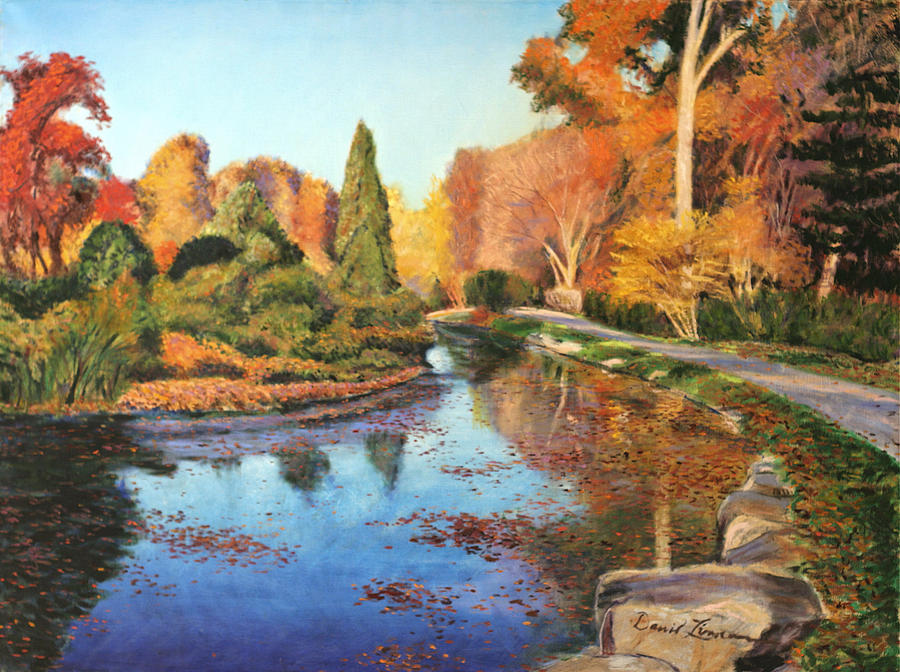 Landscape Paintings Painting - Brookside Garden by David Zimmerman