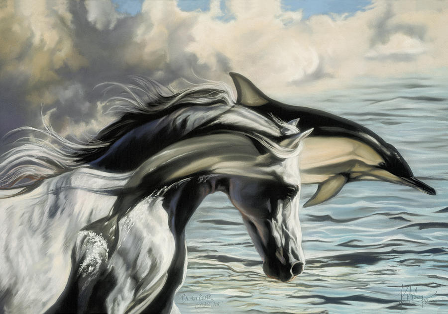 Dolphin Horse Pastel - Brother Earth Sister Sea by Kim McElroy