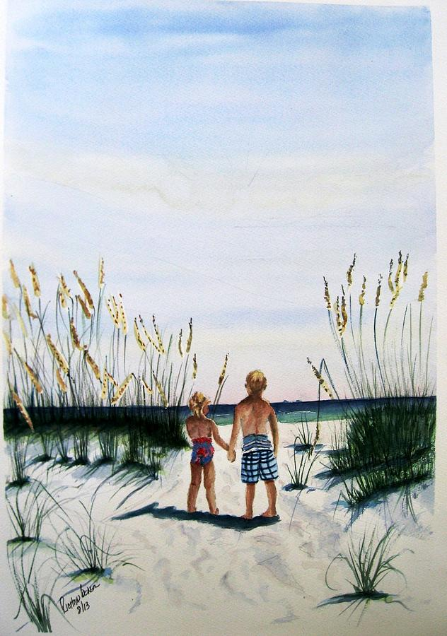 Brother Sister on Beach SOLD by Richard Benson