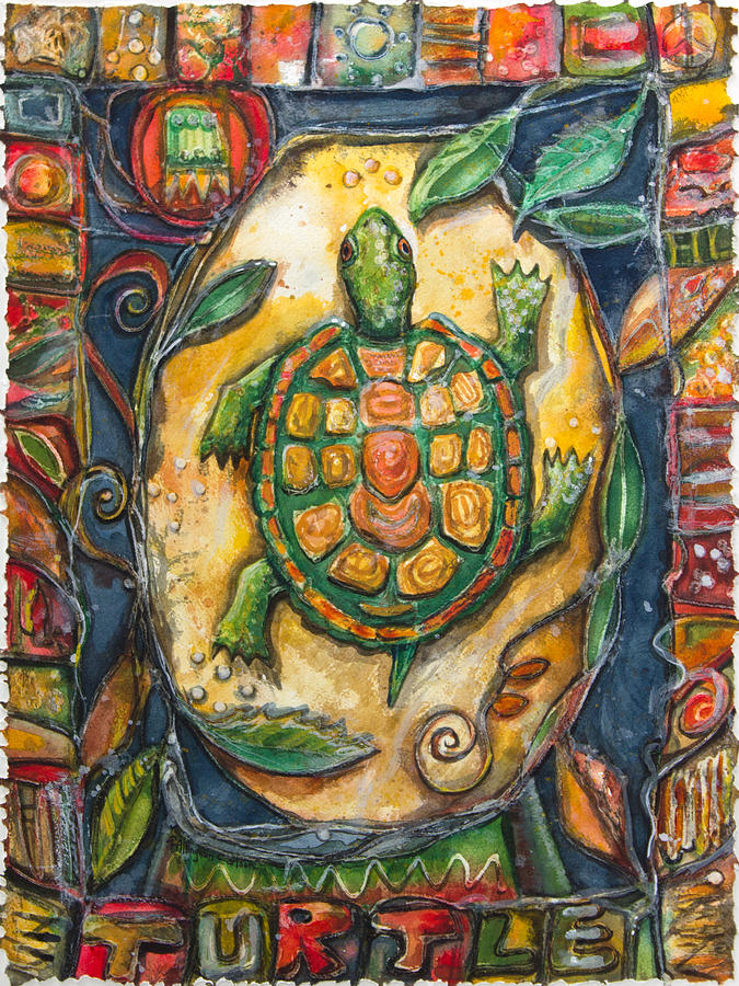P Allingham Carlson Painting - Brother Turtle Vi by Patricia Allingham Carlson