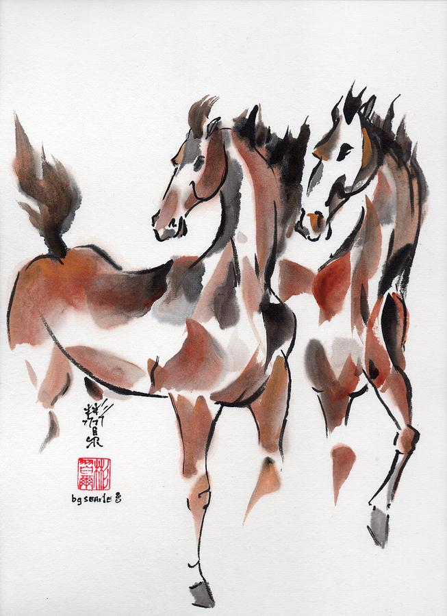 Chinese Brush Painting Painting - Brothers by Bill Searle