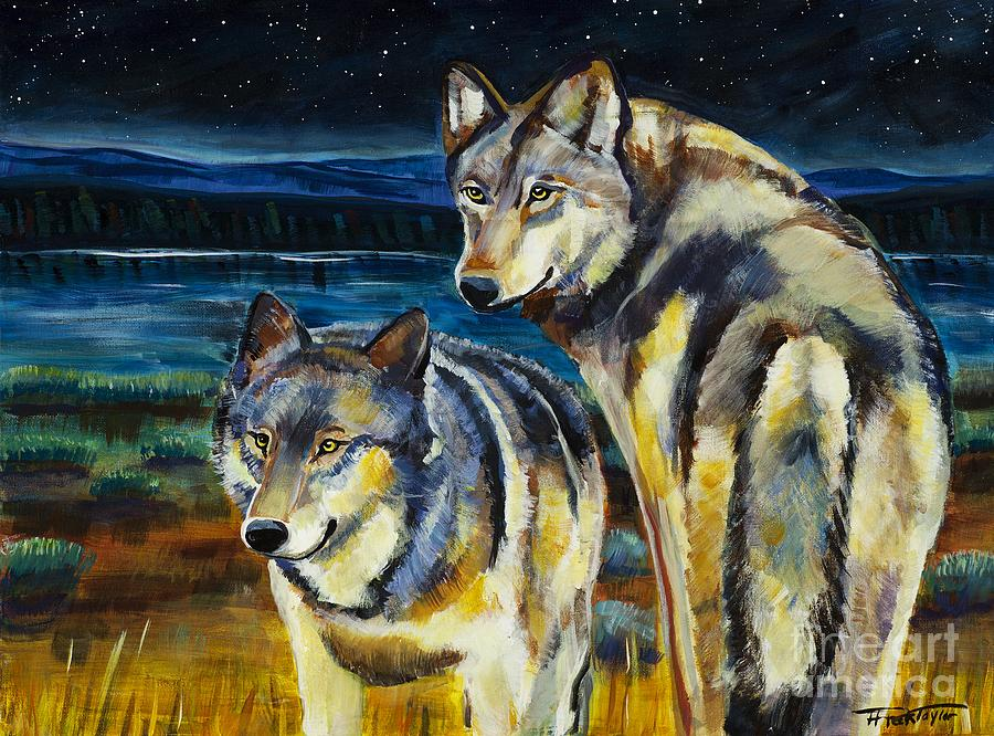 Wolf Painting - Brothers by Harriet Peck Taylor