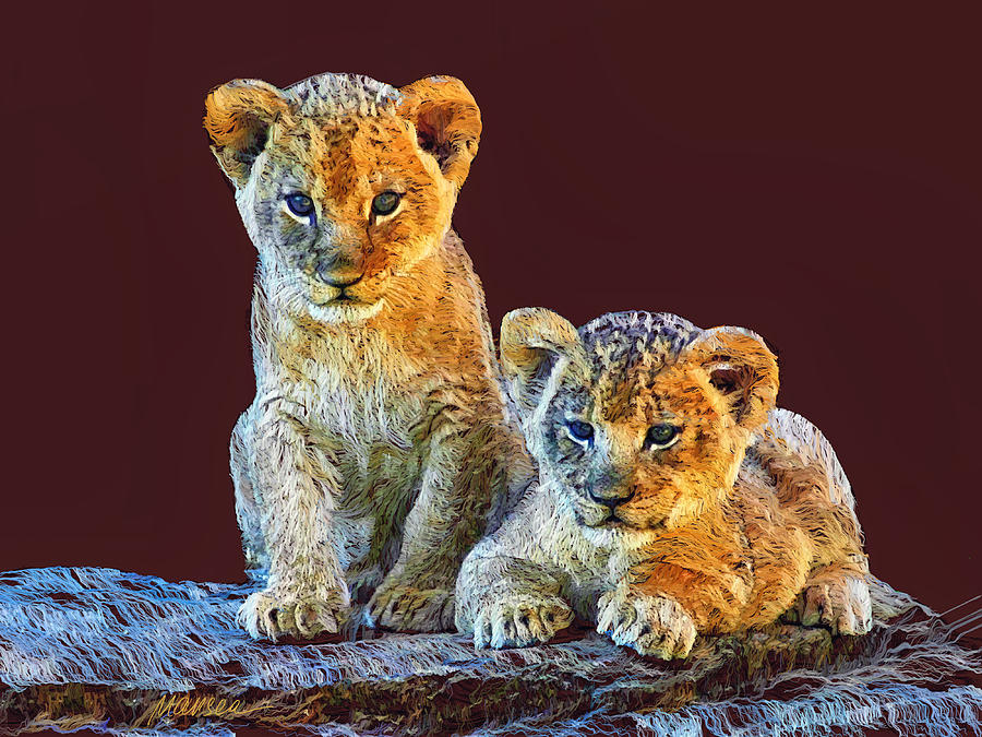 Lion Cubs Painting - Brothers by Marina Likholat