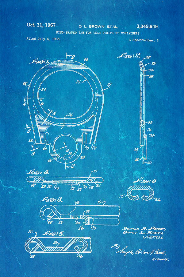 Engineer Photograph - Brown Can Ring Pull Patent Art 1967 Blueprint by Ian Monk