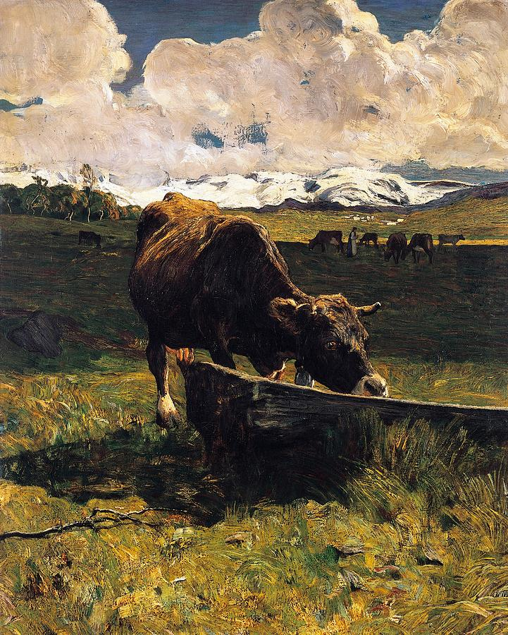 Painting Painting - Brown Cow At Trough  by Giovanni Segantini