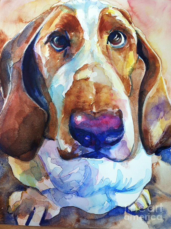 Basset Hound Painting - Brown Eyes by Marias Watercolor