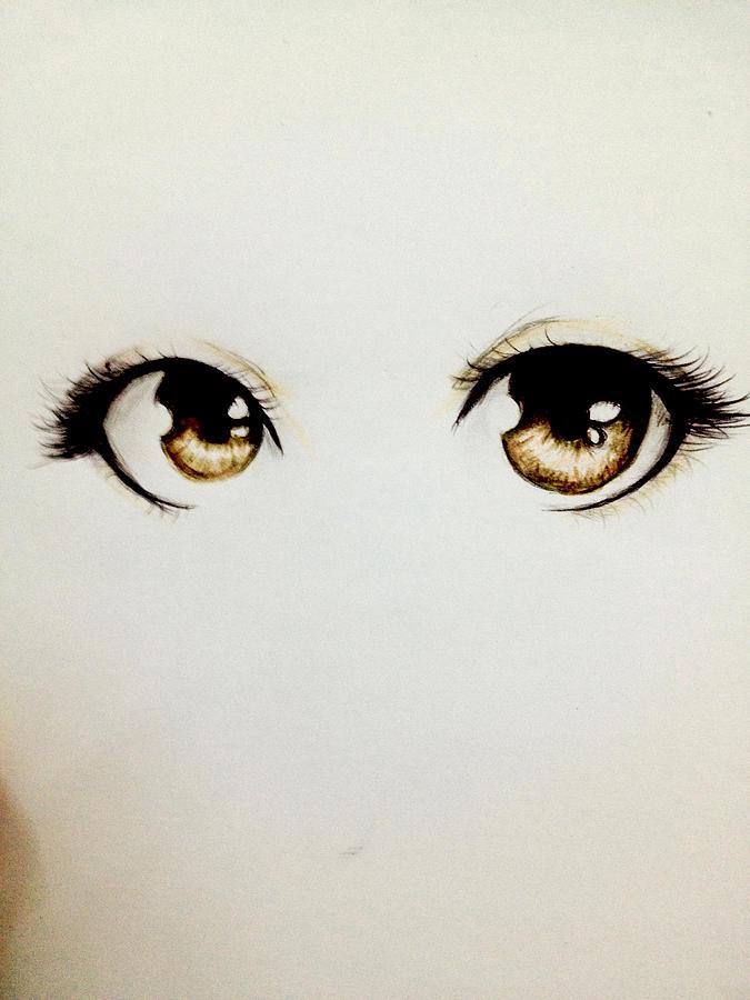 Brown Eyes Drawing By Mawaz Alshamsy