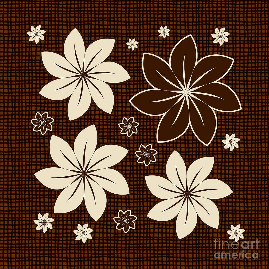 Floral Digital Art - Brown Floral Design by Gaspar Avila