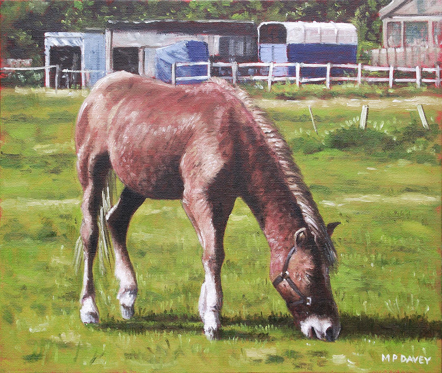 Horse Painting - Brown Horse By Stables by Martin Davey