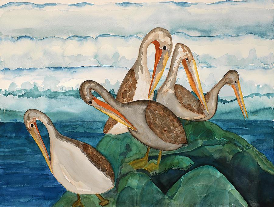Santa Cruz Birds Painting - Brown Pelican Juveniles by Alexandra  Sanders