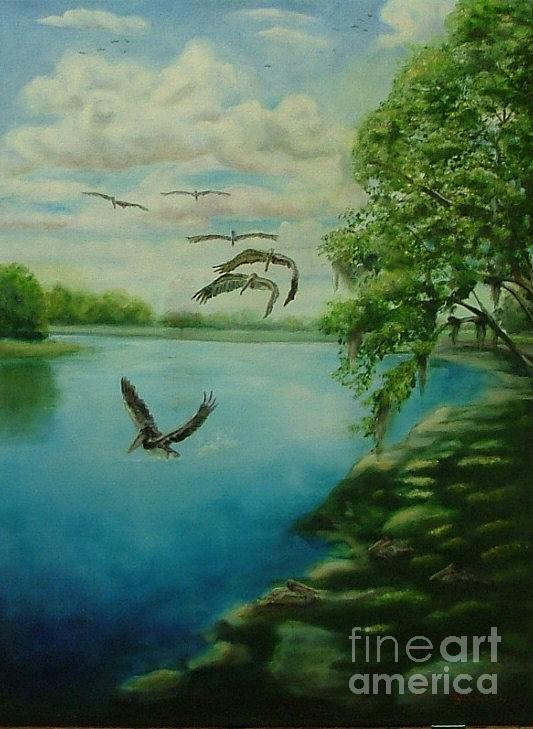 Birds Painting - Brown Pelicans by Debra Derouen