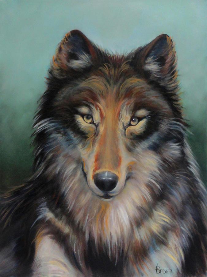 Brown Timber Wolf Painting By Jean R Brown J Brown