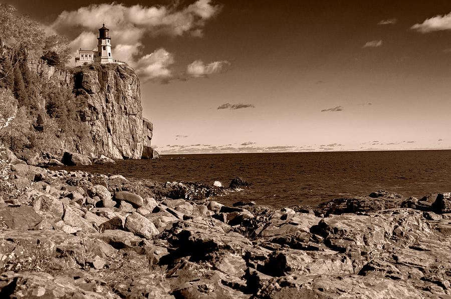 Split Rock Lighthouse Photograph - Brown Tone Split Rock by Lonnie Paulson