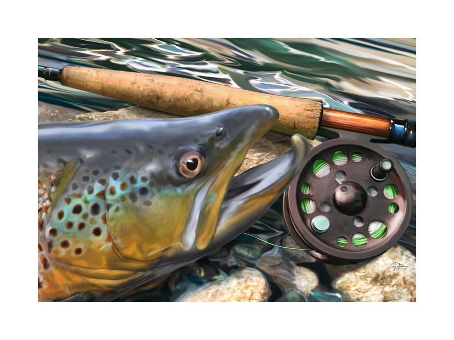 Sports Digital Art - Brown Trout Sunset by Craig Tinder