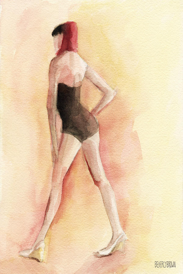 Fashion Painting - Brown Vintage Bathing Suit 1 Fashion Illustration Art Print by Beverly Brown Prints