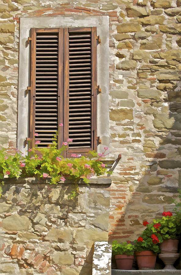 Brown Wooden Shutters : Brown wood window shutters with flowers in a medieval