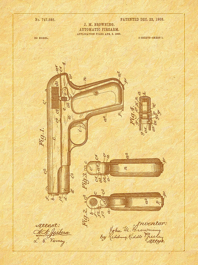 Fn Model 1903 Photograph - Browning 1903 Automatic Pistol Patent by Barry Jones