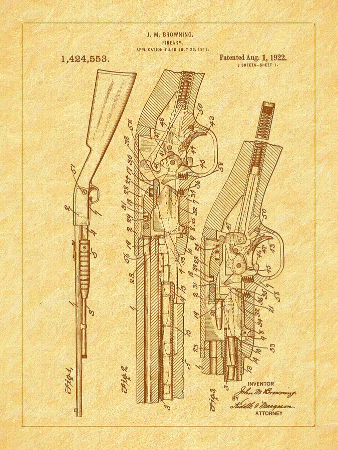 Pump Shotgun Photograph - Browning 1922 Firearm Patent by Barry Jones