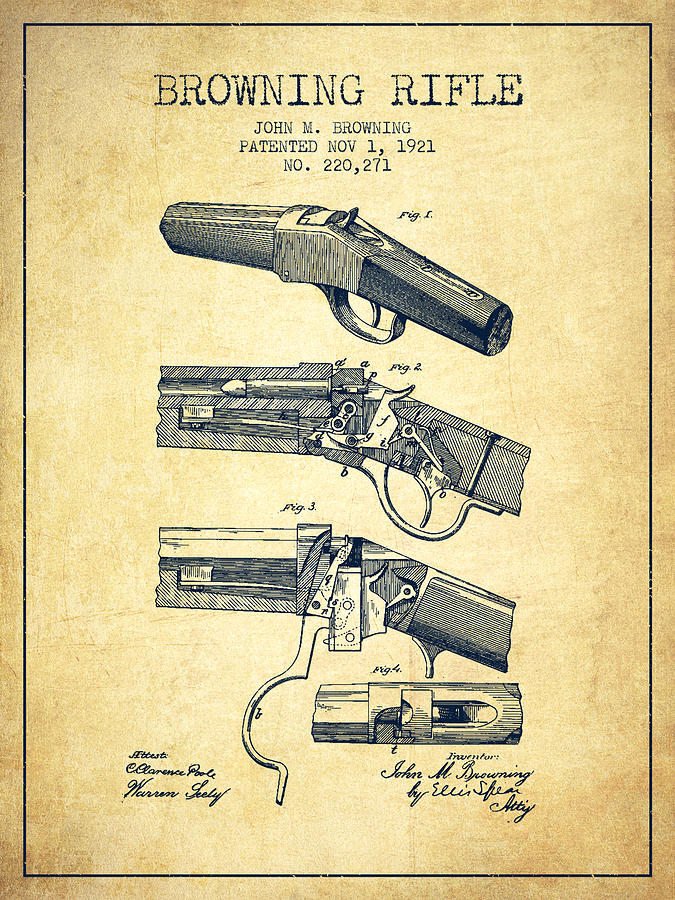 Browning Rifle Patent Drawing From 1921 - Vintage Digital Art by ...