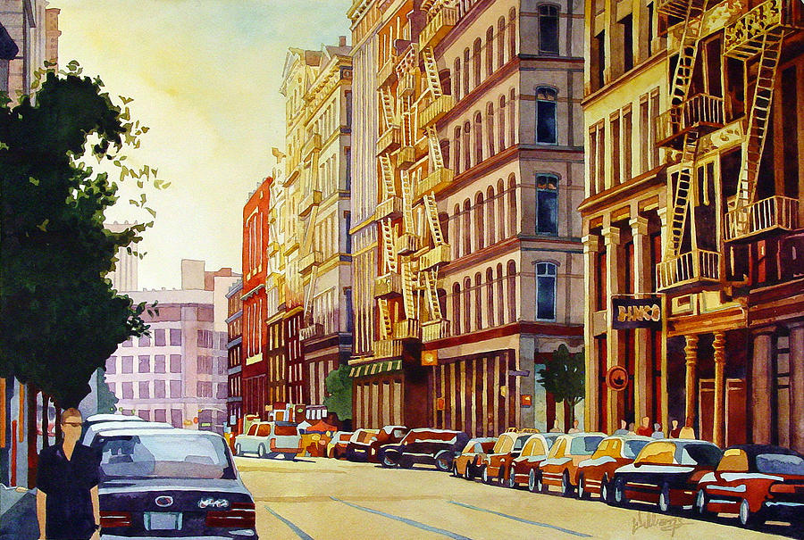 Watercolor Painting - Brownstone Sunset by Mick Williams