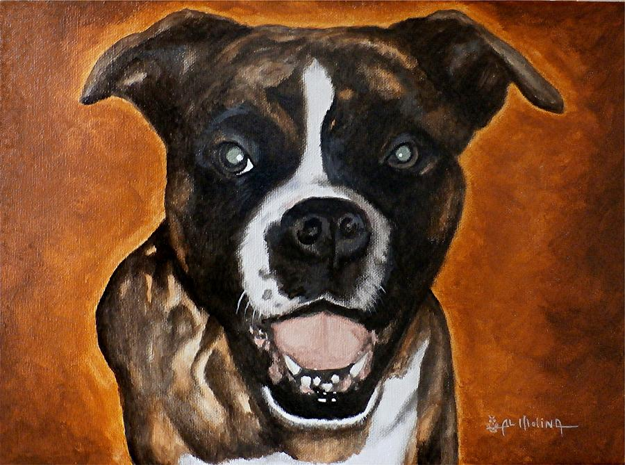 Pet Portrait Painting - Bruce by Al  Molina