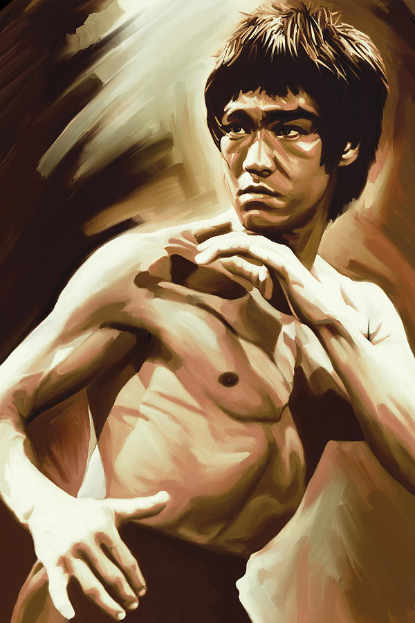 Bruce lee artwork painting by sheraz a for Lee s painting