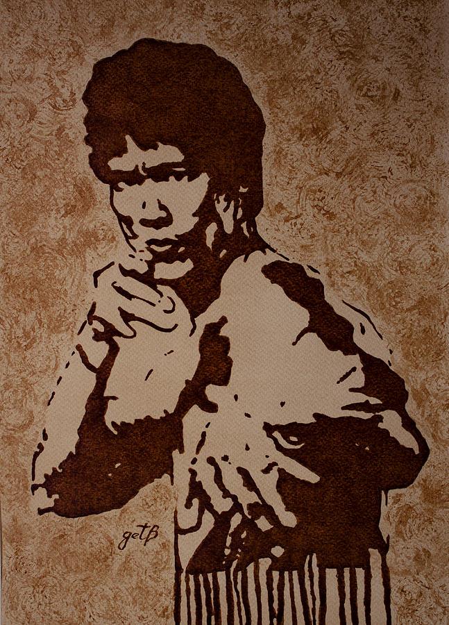Bruce Lee Painting - Bruce Lee Original Coffee Painting by Georgeta Blanaru