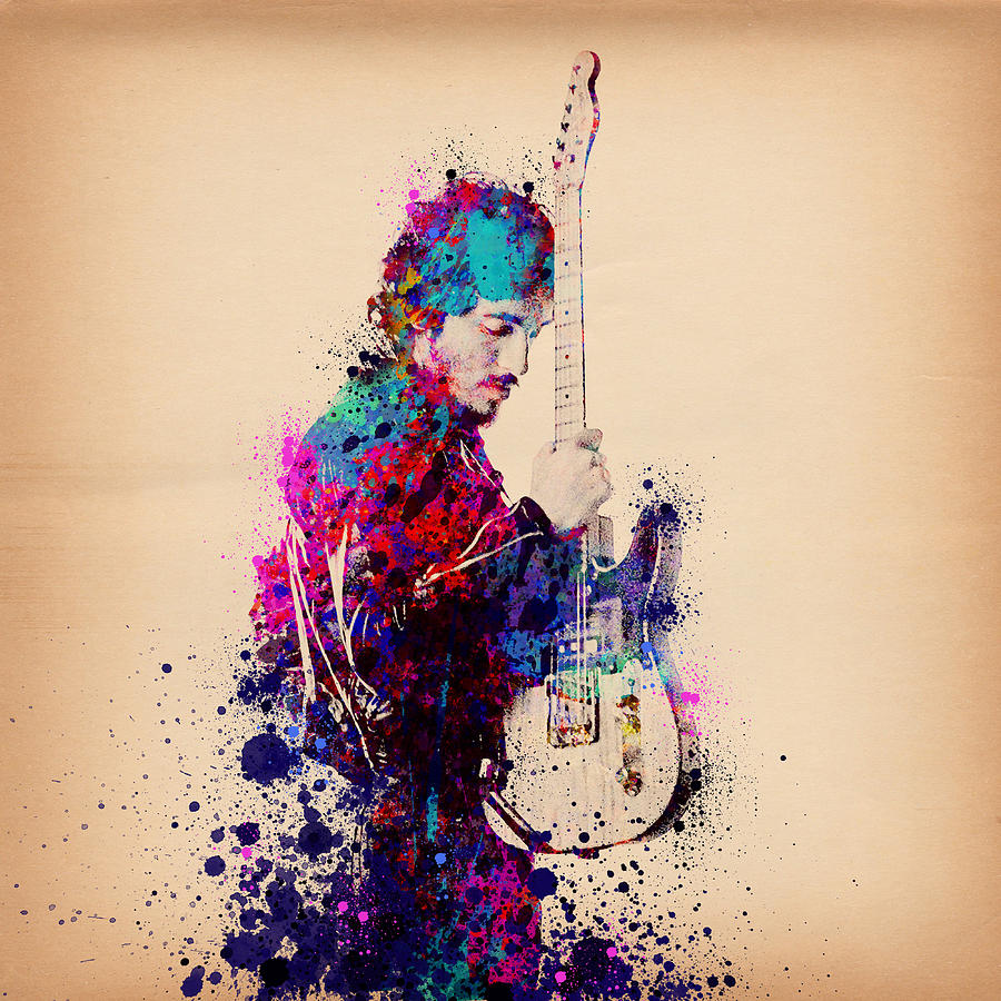 Music Painting - Bruce Springsteen Splats And Guitar by Bekim M