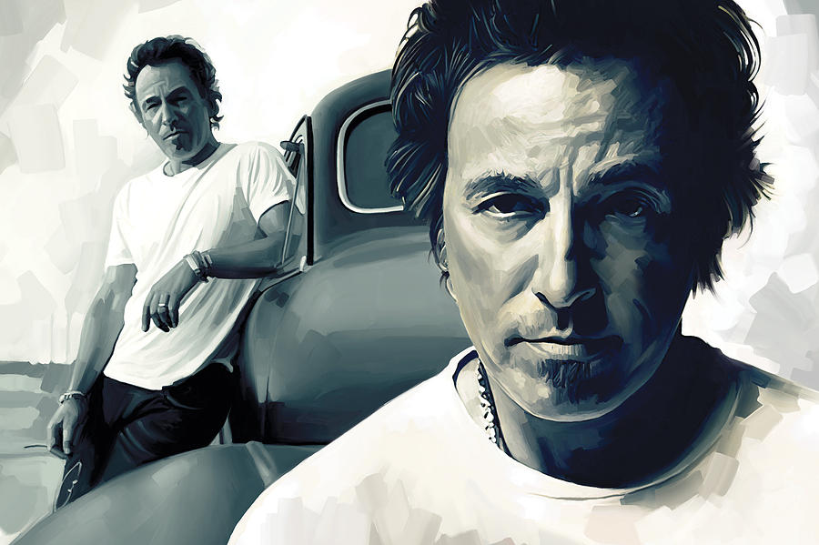 Bruce Springsteen Paintings Painting - Bruce Springsteen The Boss Artwork 1 by Sheraz A