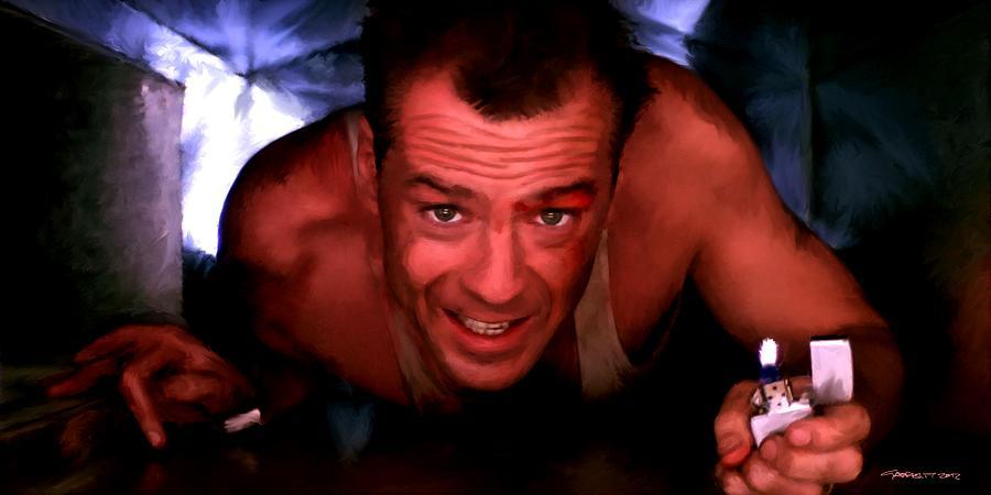 Die Hard Digital Art - Bruce Willis in the film Die Hard - John McTiernan 1988 by Gabriel T Toro