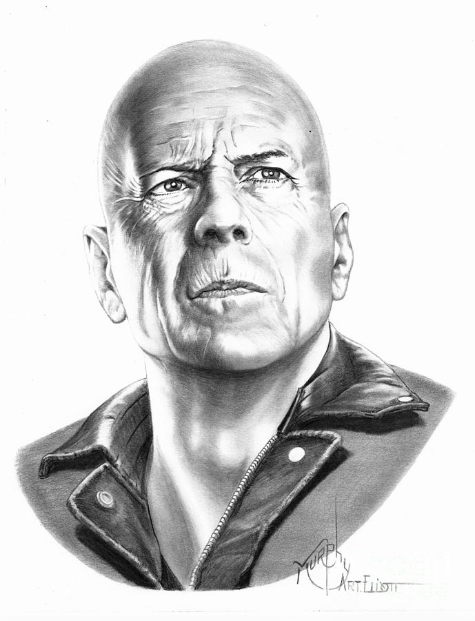 Pencil Drawing - Bruce Willis by Murphy Elliott