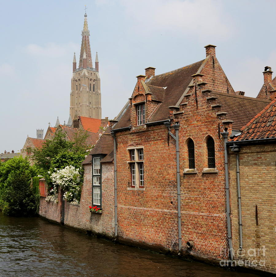 Bruges Photograph - Bruges Houses With Bell Tower by Carol Groenen
