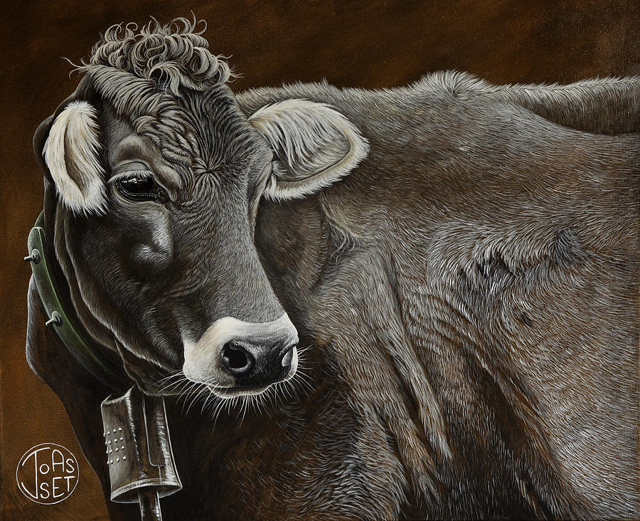 Cow Painting - Brunette Of The Alps by Jennifer Joasset